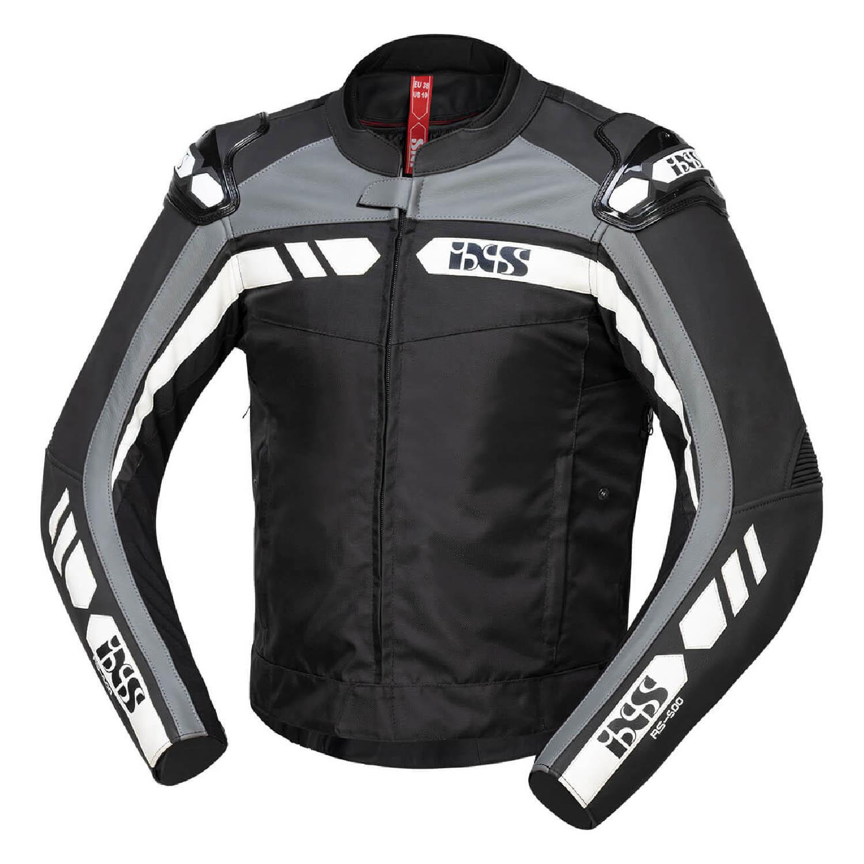 Спортивная куртка текстильная c кожаными вставками IXS SPORT LT RS-500 1.0 вид спереди для мотоциклистов купить по низкой цене