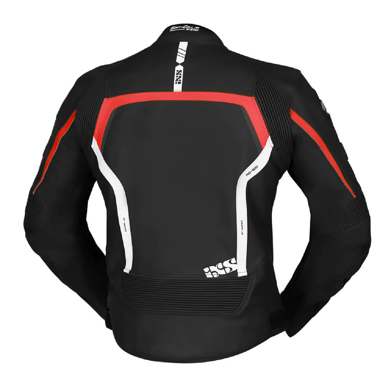 Спортивная куртка кожаная IXS SPORTS LD RS-600 цвет черно-красный вид сзади для мотоциклистов купить по низкой цене