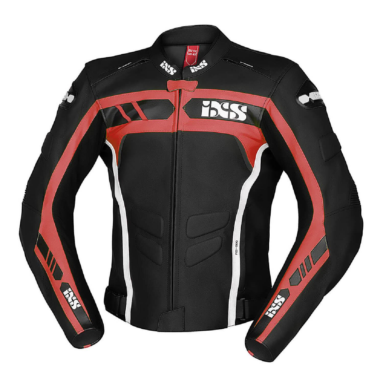 Спортивная куртка кожаная IXS SPORTS LD RS-600 цвет черно-красный для мотоциклистов купить по низкой цене