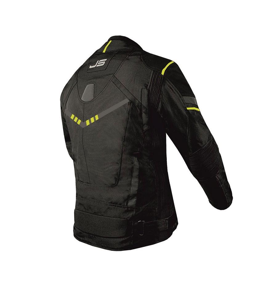 Куртка текстильная Jollisport Venom цвет чёрный с желтыми вставками вид сзади купить по низкой цене