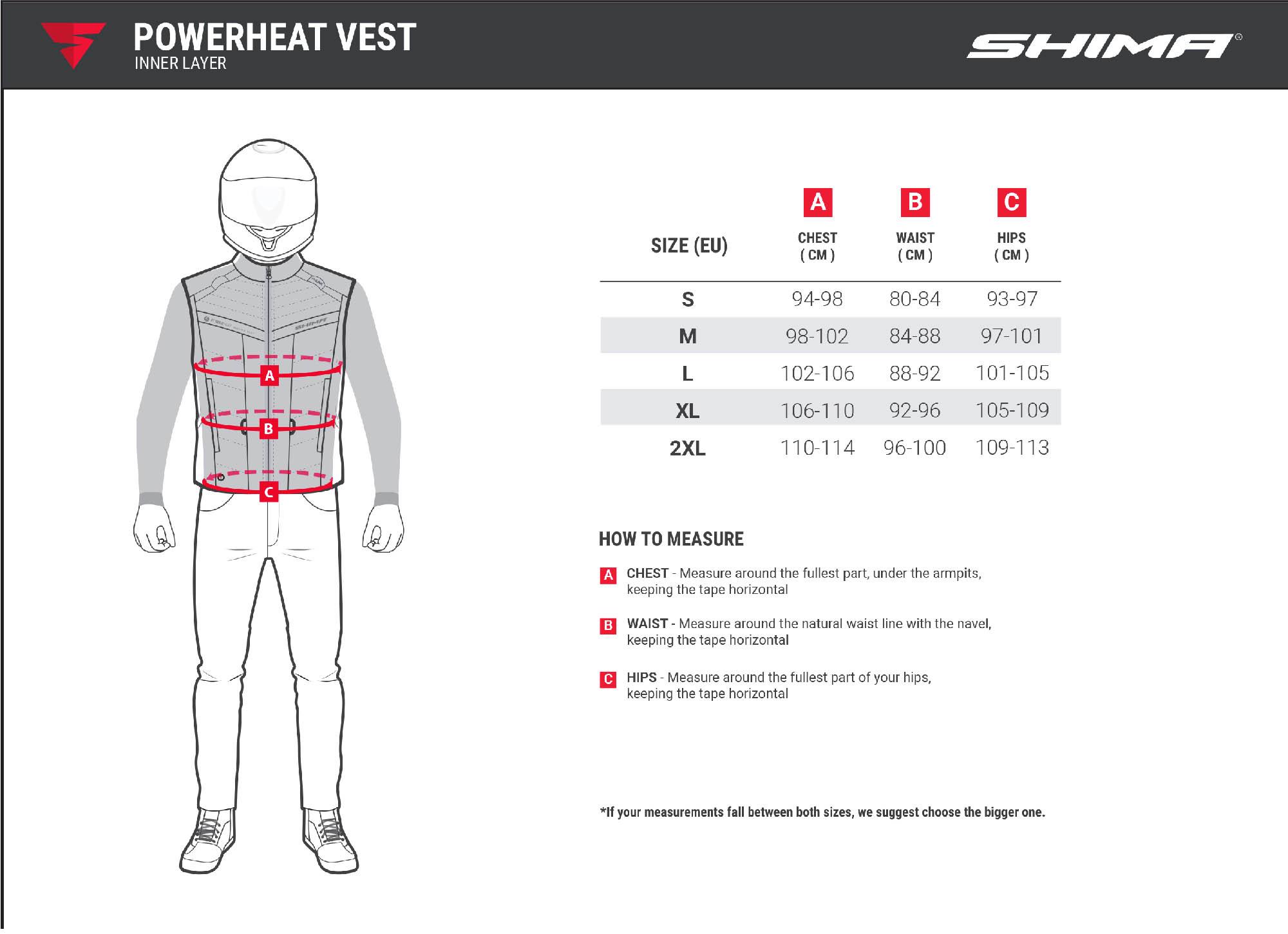 Жилет SHIMA POWERHEAT VEST утепляющий для мотоциклистов таблица размеров