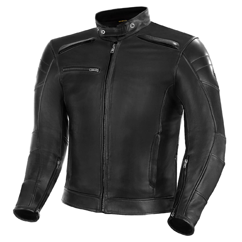 Куртка кожаная SHIMA BLAKE черного цвета для мотоциклистов купить по низкой цене