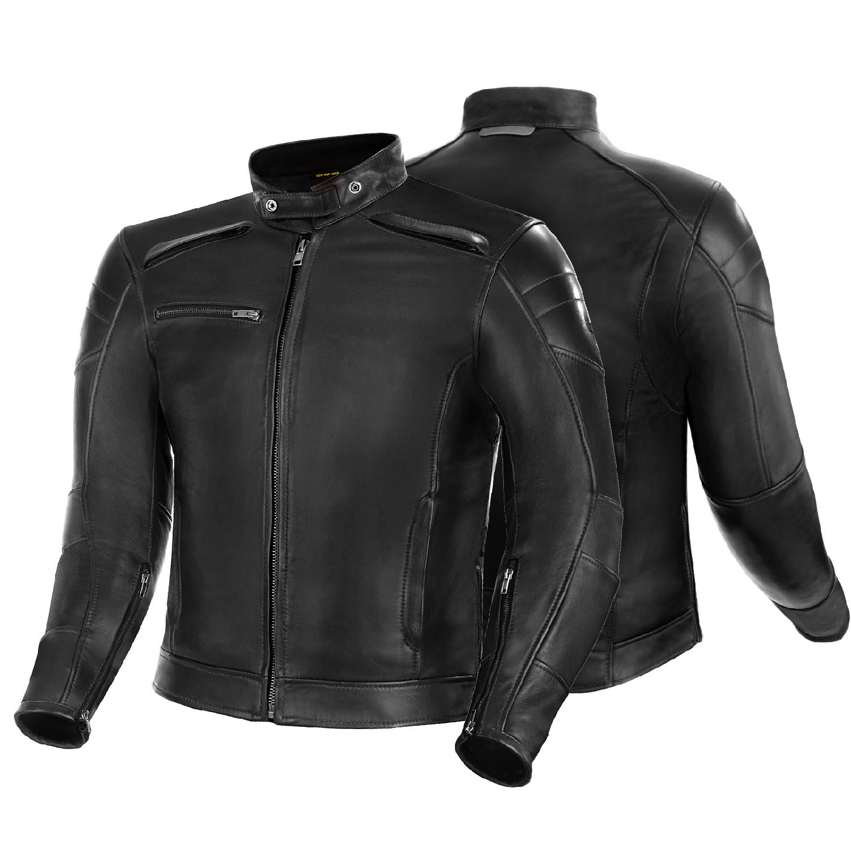 Куртка кожаная SHIMA BLAKE черного цвета вид пара для мотоциклистов купить по низкой цене