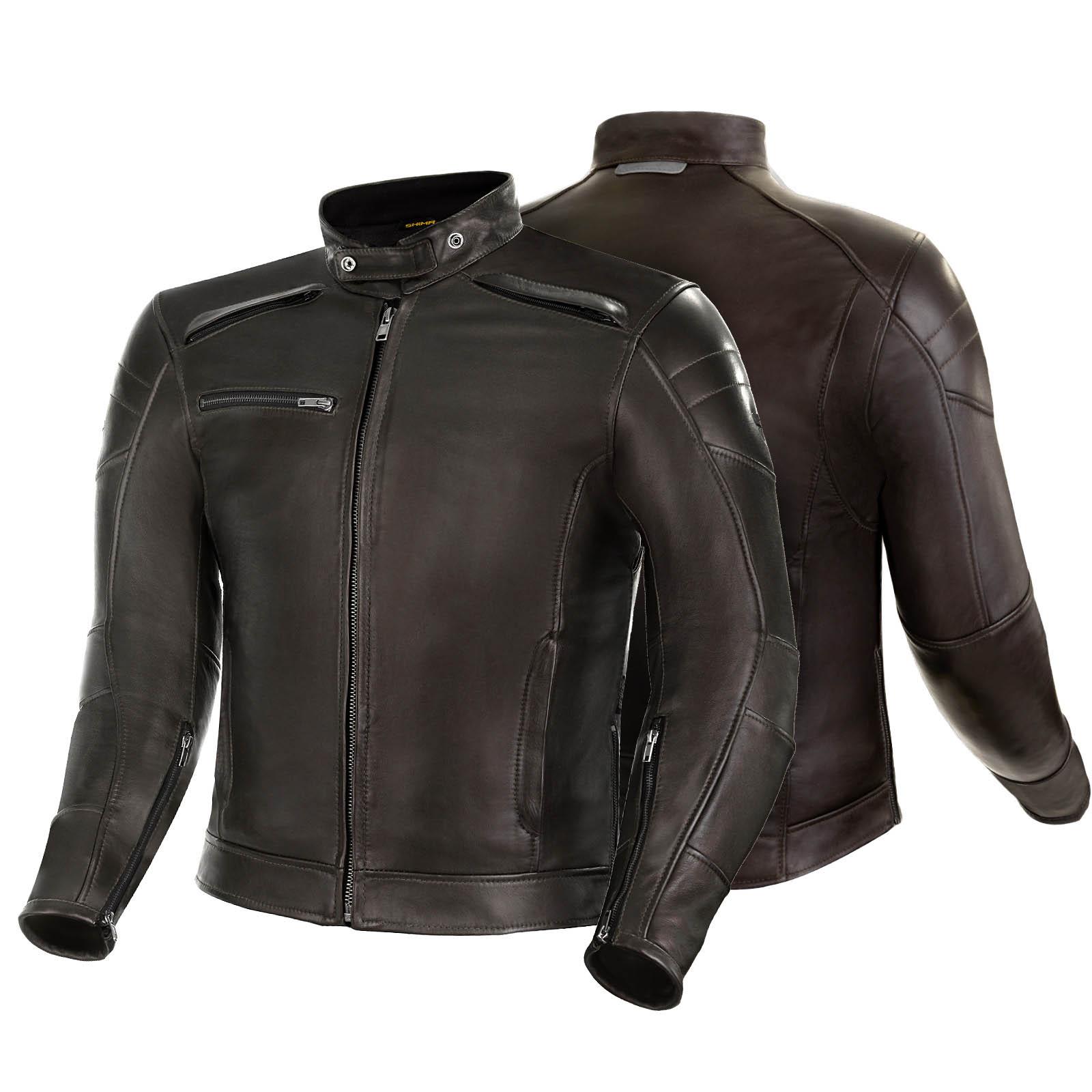Куртка кожаная SHIMA BLAKE вид спереди и сзади для мотоциклистов купить по низкой цене