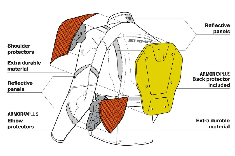 Туристическая куртка SHIMA HERO из текстиля для мотоциклистов вид протекторы купить по низкой цене