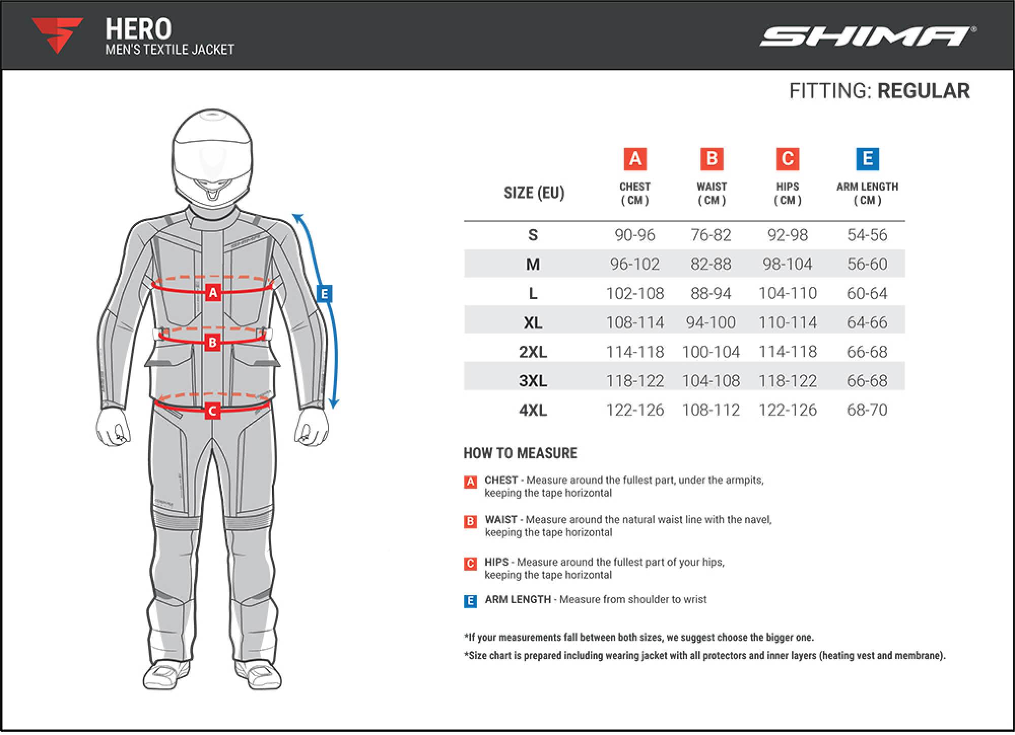 Туристическая куртка SHIMA HERO из текстиля для мотоциклистов таблица размеров