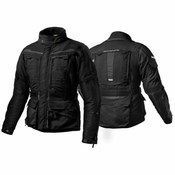 Туристическая куртка SHIMA HORIZON из текстиля черного цвета для мотоциклистов купить по низкой цене вид с переди и с зади