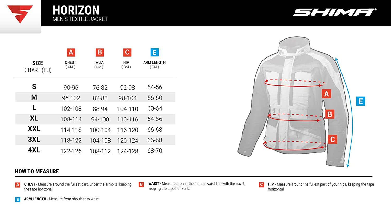 Таблица размеров: туристическая куртка SHIMA HORIZON из текстиля для мотоциклистов
