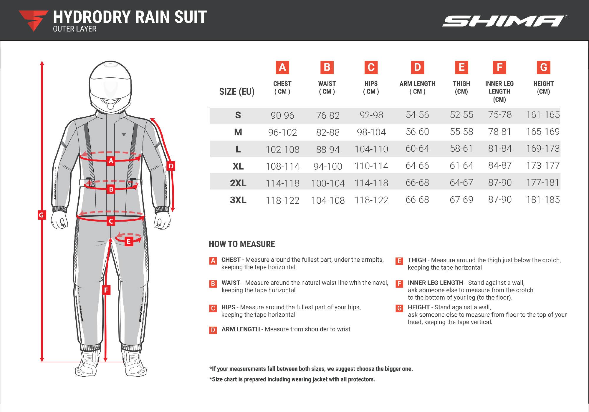 Водонепроницаемая куртка SHIMA HYDRODRY+ с мембранной для мотоциклистов таблица размеров
