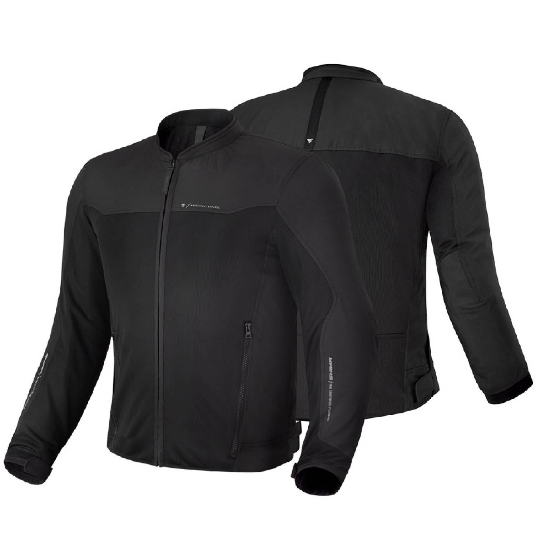 Летняя куртка SHIMA OPENAIR чёрного цвета текстильная для мотоциклистов вид пара купить по низкой цене