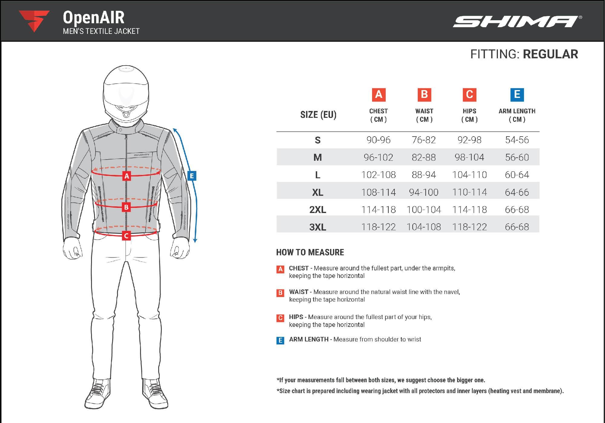 Таблица размеров: летняя куртка SHIMA OPENAIR текстильная для мотоциклистов