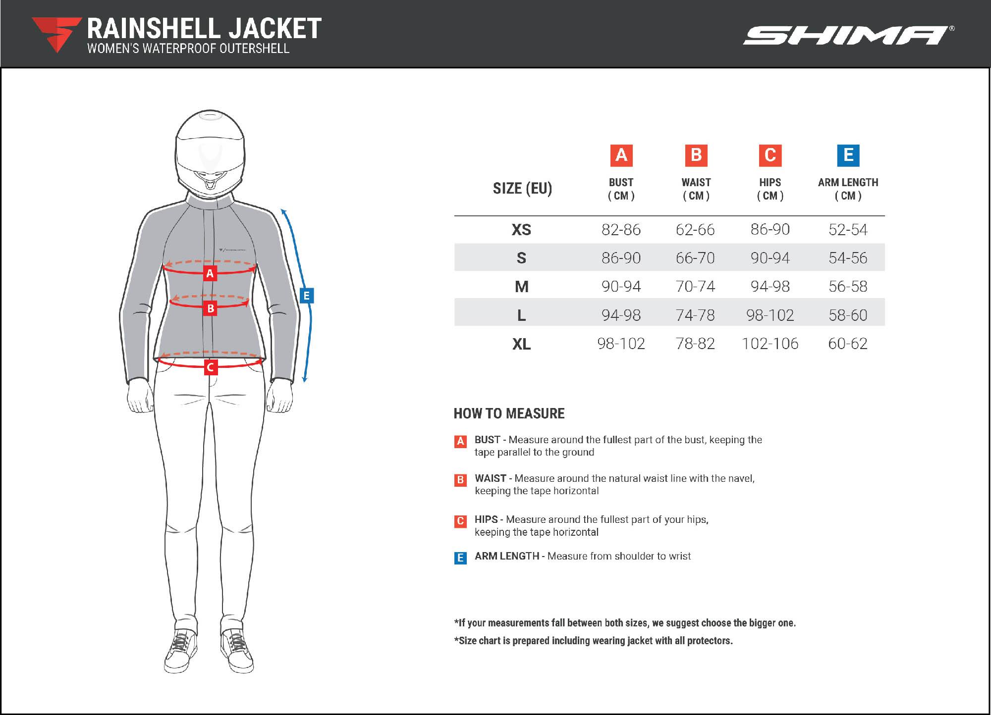 Водонепроницаемая куртка SHIMA RAINSHELL LADY для мотоледи таблица размеров