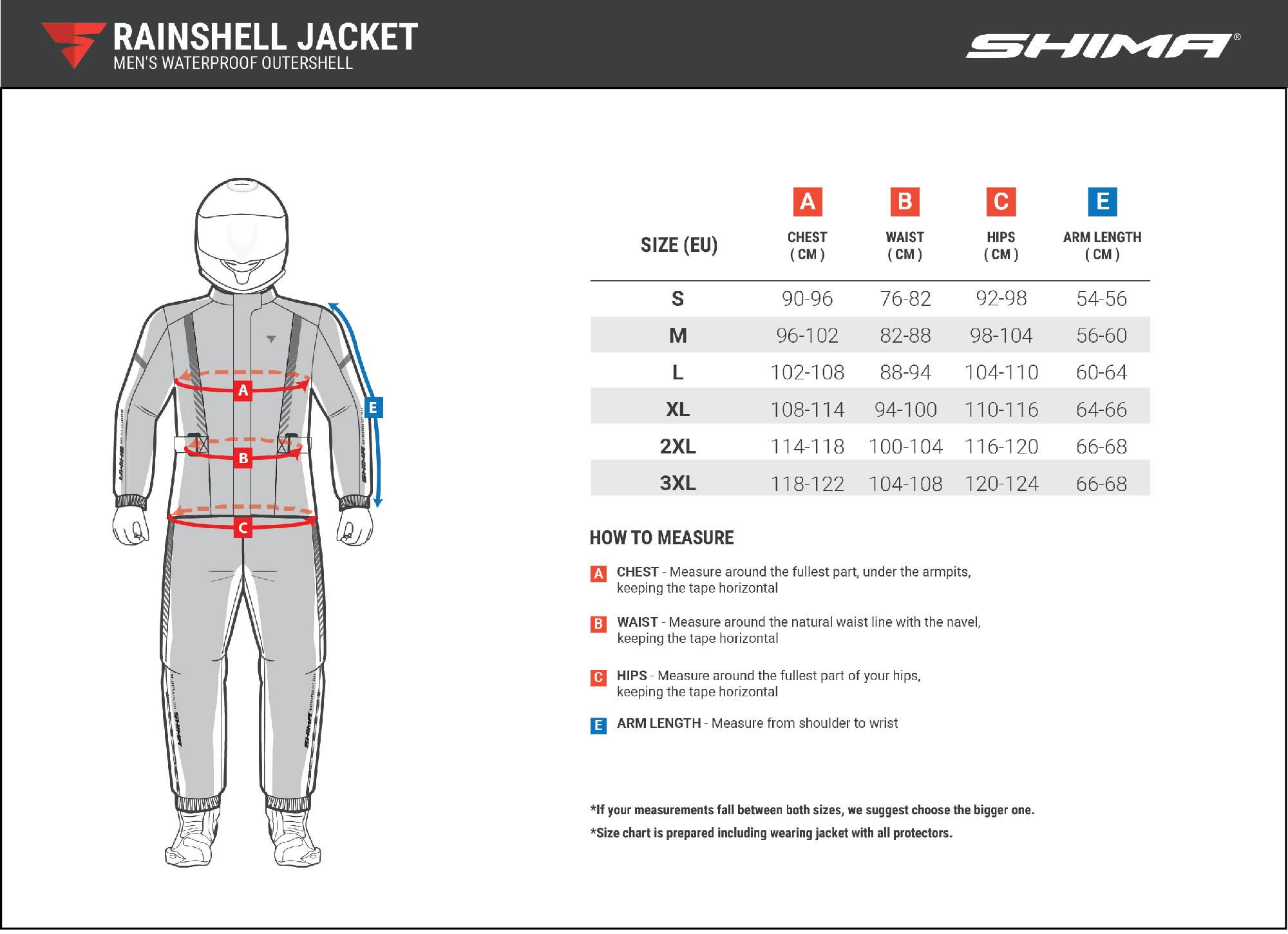 Водонепроницаемая куртка SHIMA RAINSHELL для мотоциклистов таблица размеров