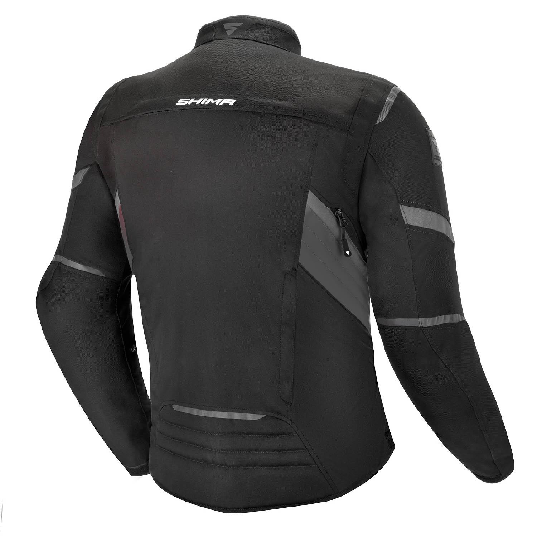 Туристическая куртка SHIMA RUSH текстильная для мотоциклистов, чёрно-серого цвета вид сзади купить по низкой цене