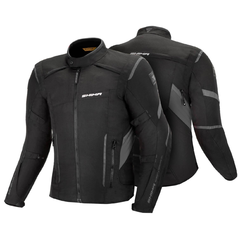 Туристическая куртка SHIMA RUSH текстильная для мотоциклистов, чёрно-серого цвета вид спереди и сзади купить по низкой цене