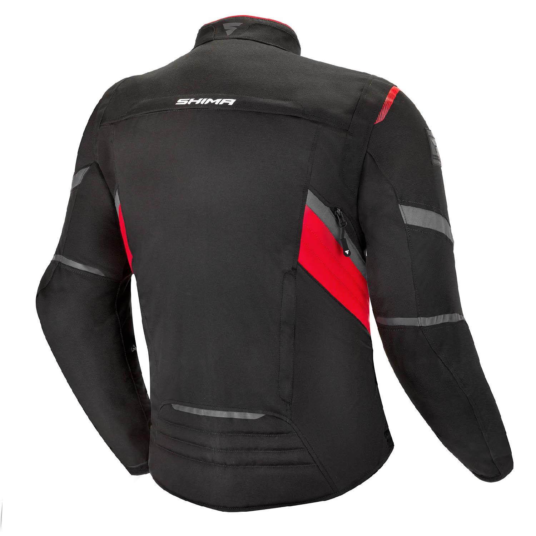 Туристическая куртка SHIMA RUSH текстильная для мотоциклистов, чёрно-красного цвета вид сзади купить по низкой цене