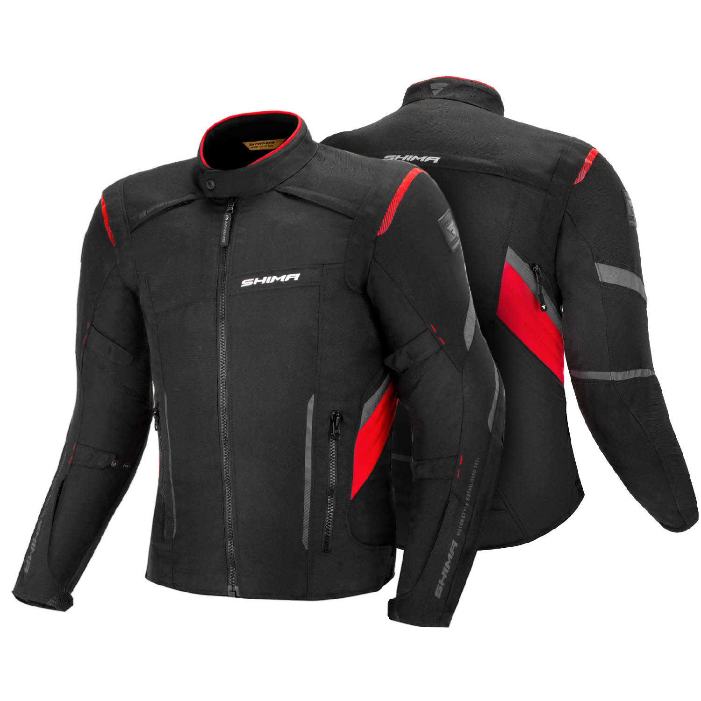 Туристическая куртка SHIMA RUSH текстильная для мотоциклистов, чёрно-красного цвета вид спереди и сзади купить по низкой цене