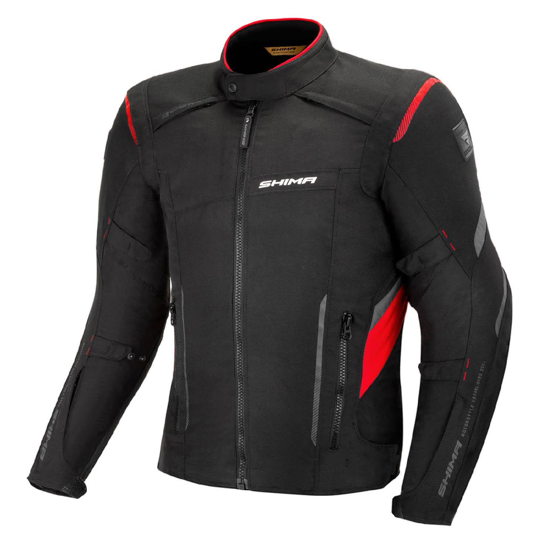 Туристическая куртка SHIMA RUSH текстильная для мотоциклистов, чёрно-красного цвета купить по низкой цене
