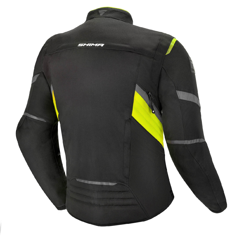 Туристическая куртка SHIMA RUSH текстильная для мотоциклистов, чёрно-желтого цвета вид сзади купить по низкой цене