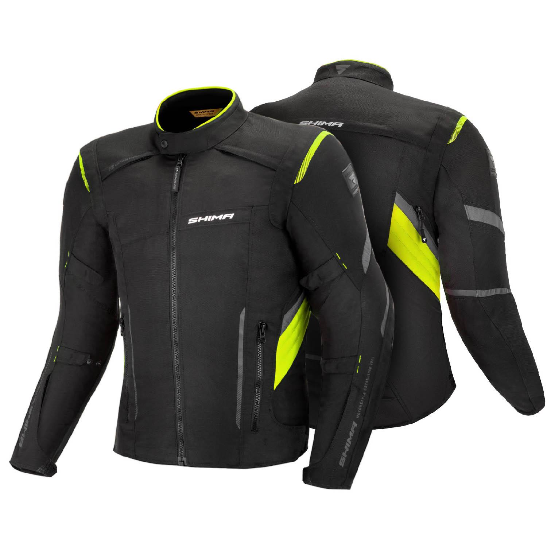 Туристическая куртка SHIMA RUSH текстильная для мотоциклистов, чёрно-желтого цвета вид спереди и сзади купить по низкой цене