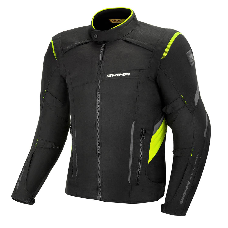 Туристическая куртка SHIMA RUSH текстильная для мотоциклистов, чёрно-желтого цвета купить по низкой цене