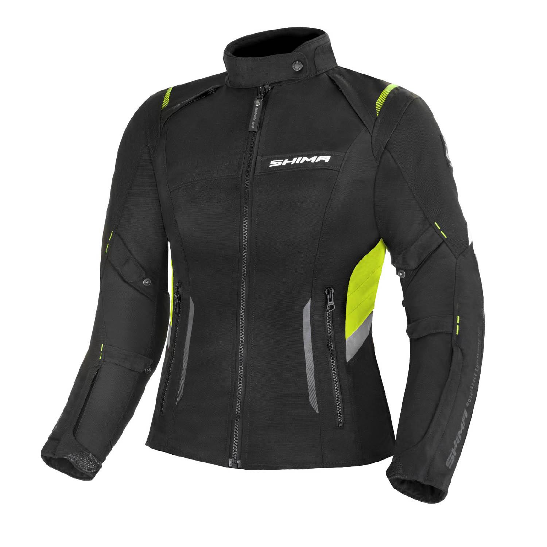 Jacheta feminin SHIMA RUSH LADY FLUO чёрно-желтого цвета текстильная для мотоциклистов купить по низкой цене