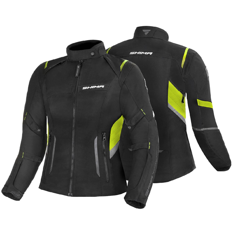Jacheta feminin SHIMA RUSH LADY FLUO чёрно-желтого цвета текстильная для мотоциклистов вид пара купить по низкой цене
