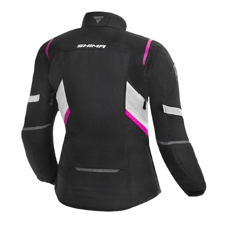 Jacheta feminin SHIMA RUSH LADY FUCSIA чёрно-розового цвета текстильная для мотоциклистов вид сзади купить по низкой цене