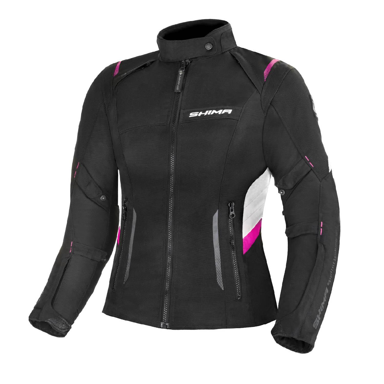 Jacheta feminin SHIMA RUSH LADY FUCSIA чёрно-розового цвета текстильная для мотоциклистов купить по низкой цене