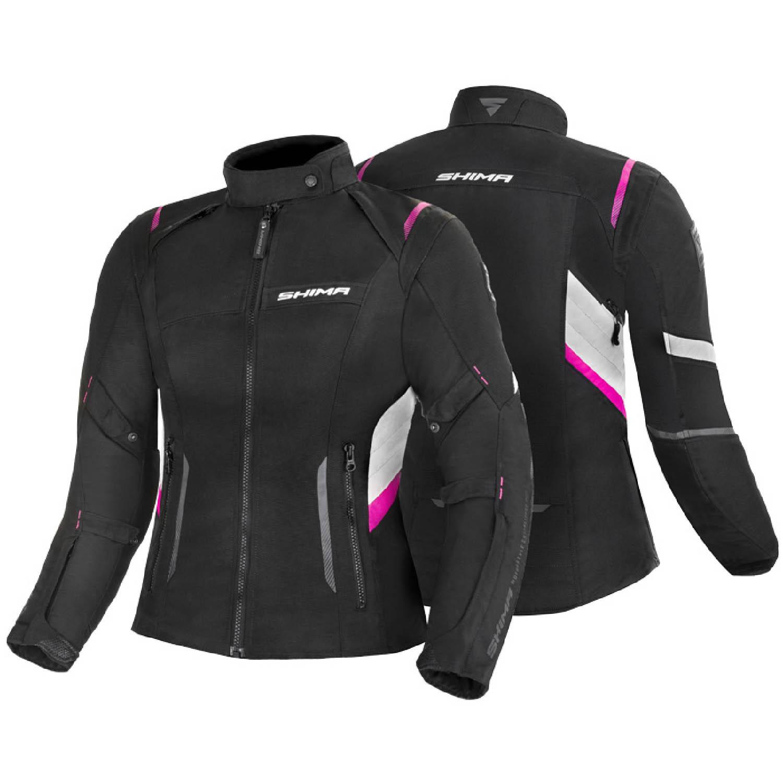 Jacheta feminin SHIMA RUSH LADY FUCSIA чёрно-розового цвета текстильная для мотоциклистов вид пара купить по низкой цене