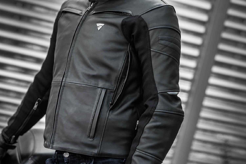 Кожаная куртка SHIMA SHADOW TFL классическая для мотоциклистов вид сбоку купить по низкой цене