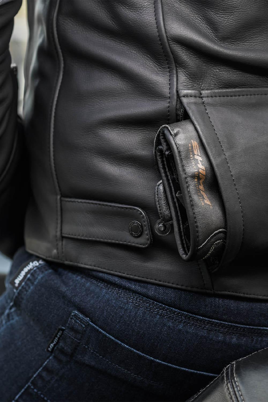 Кожаная куртка SHIMA SHADOW TFL классическая для мотоциклистов вид карман сзади купить по низкой цене