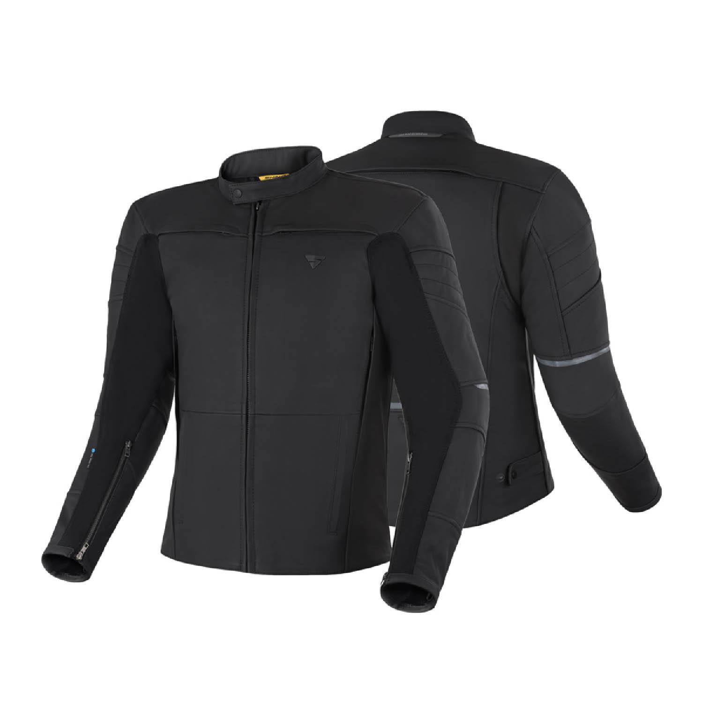 Кожаная куртка SHIMA SHADOW TFL классическая для мотоциклистов вид спереди и сзади купить по низкой цене