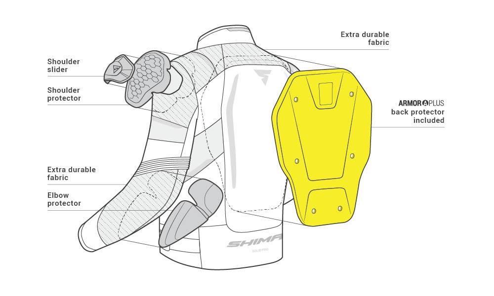 Спортивная куртка SHIMA SOLID PRO текстильная для мотоциклистов вид протекторы купить по низкой цене
