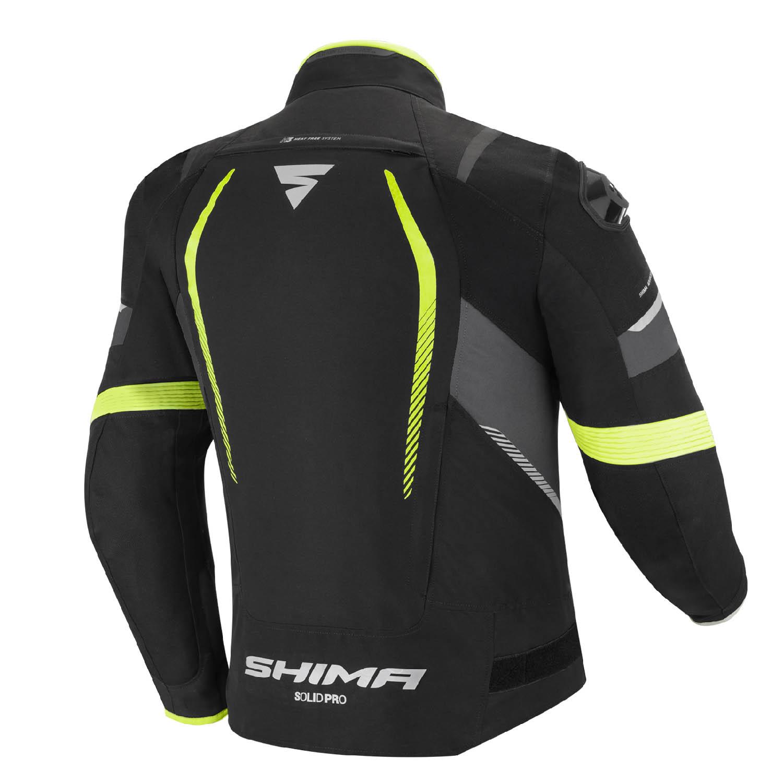Спортивная куртка SHIMA SOLID PRO FLUO текстильная для мотоциклистов вид сзади купить по низкой цене