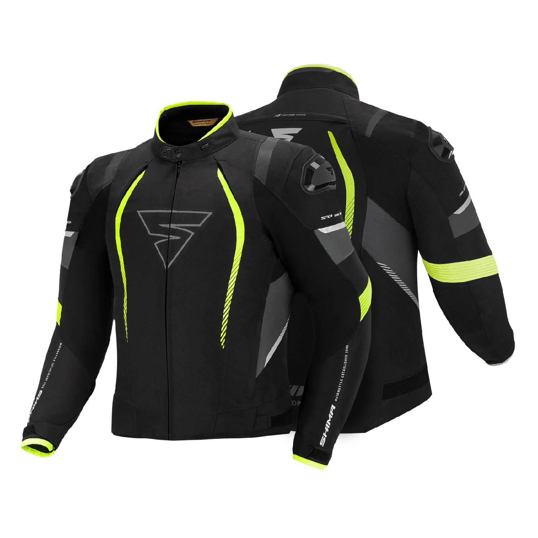 Спортивная куртка SHIMA SOLID PRO FLUO текстильная для мотоциклистов вид спереди и сзади купить по низкой цене