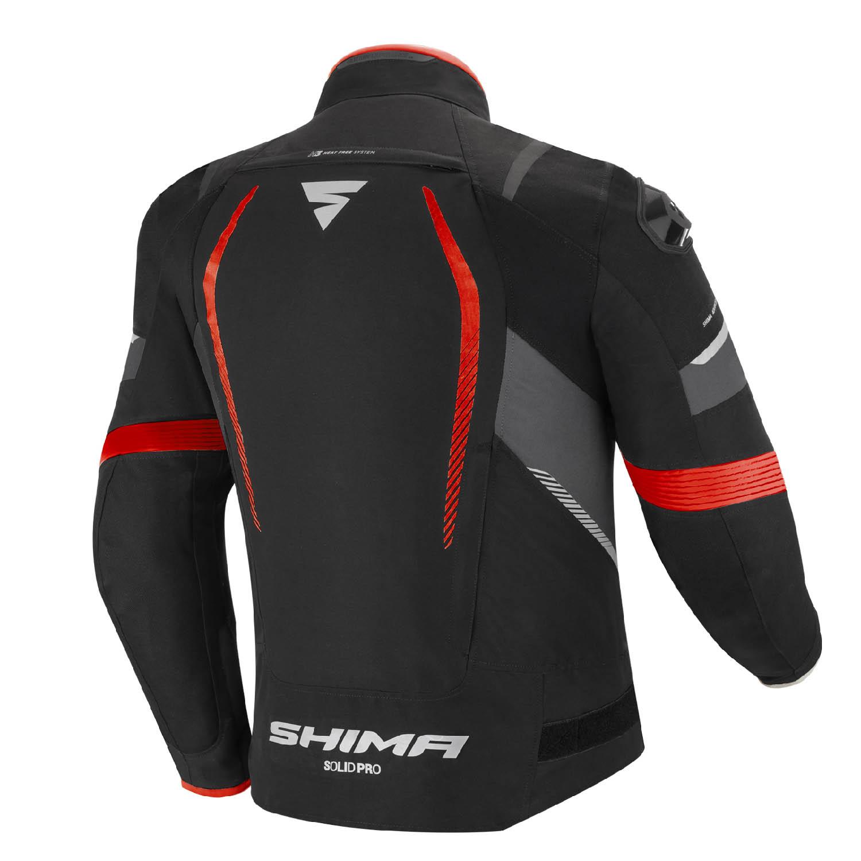 Спортивная куртка SHIMA SOLID PRO чёрно-красного цвета текстильная для мотоциклистов вид сзади купить по низкой цене