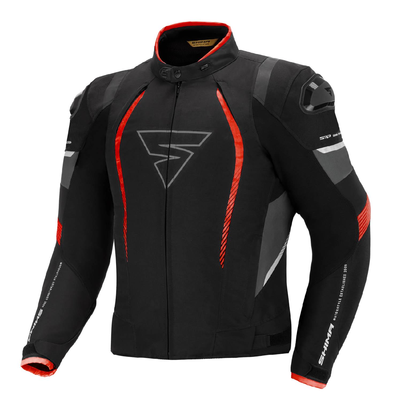 Спортивная куртка SHIMA SOLID PRO чёрно-красного цвета текстильная для мотоциклистов купить по низкой цене