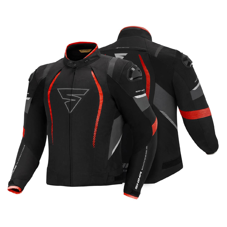 Спортивная куртка SHIMA SOLID PRO чёрно-красного цвета текстильная для мотоциклистов вид пара купить по низкой цене