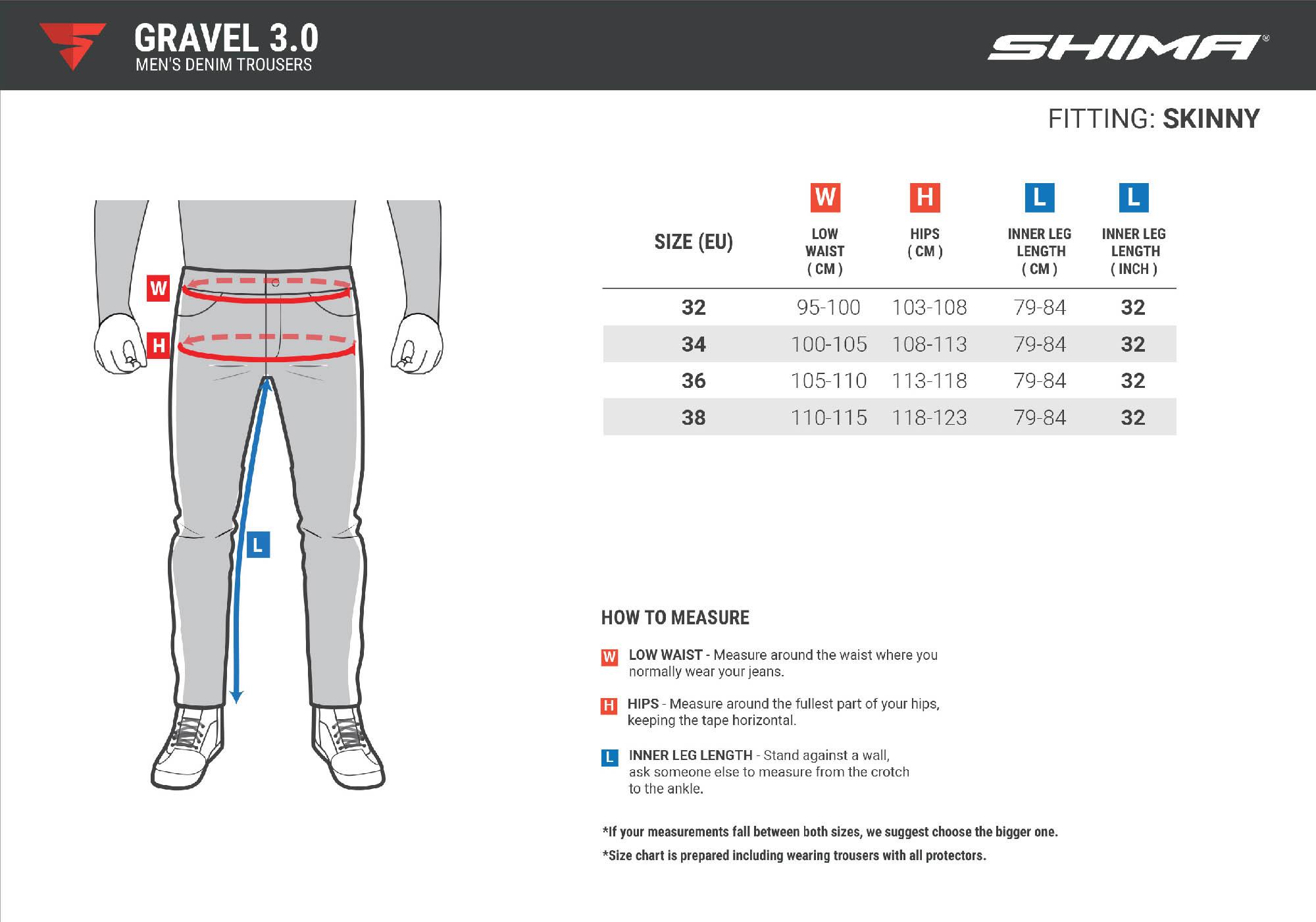 Таблица размеров: джинсы мотоциклетные SHIMA GRAVEL 3.0