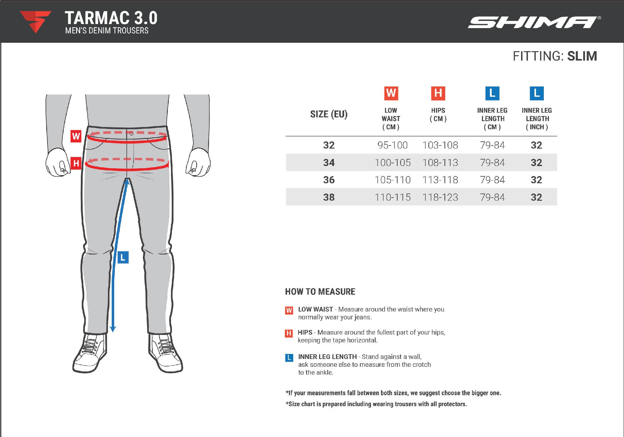Таблица размеров: джинсы мотоциклетные SHIMA TARMAC 3.0 вид сзади купить по низкой цене