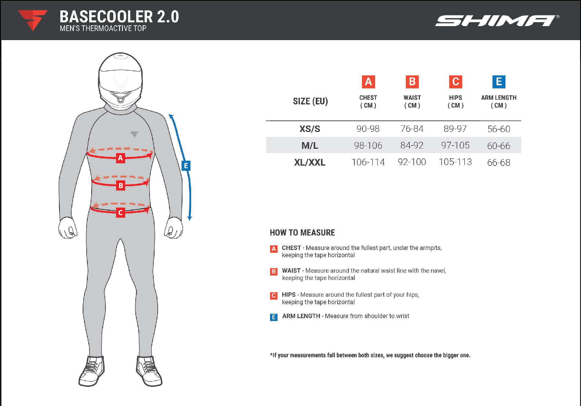Термобелье SHIMA BASECOOLER 2.0 бесшовное для мотоциклистов таблица размеров